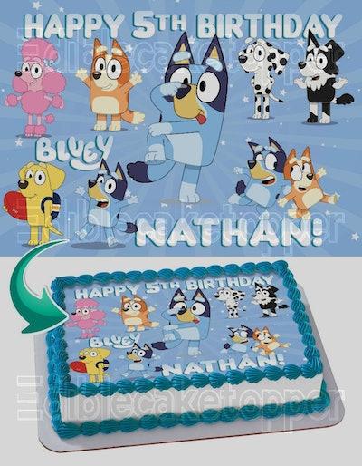 Bluey v2 Edible Image Cake Topper Personalized Birthday Sheet Decoration Custom Party Frosting Transfer Fondant