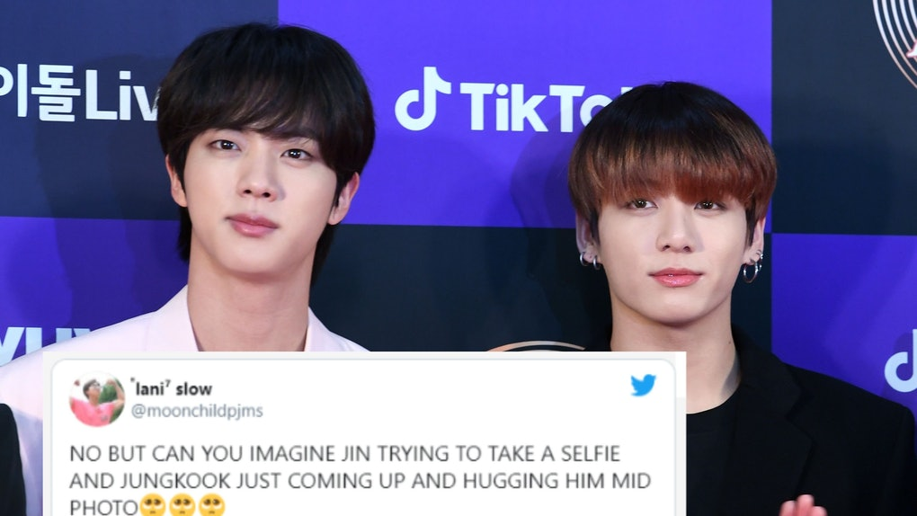 BTS' Jungkook and Jin's playful friendship is entertaining for ARMYs to see and these tweets about BTS' Jungkook crashing Jin's latest selfie while shirtless are proof fans can't get enough of the mischievous duo.