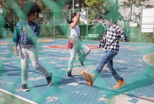 Children playing in schoolyard