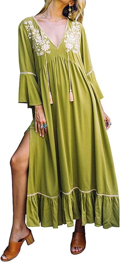 R.Vivimos Boho Embroidered Maxi Dress