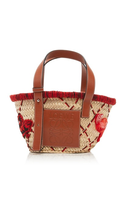 Small Leather-Trimmed Embroidered Straw Tote