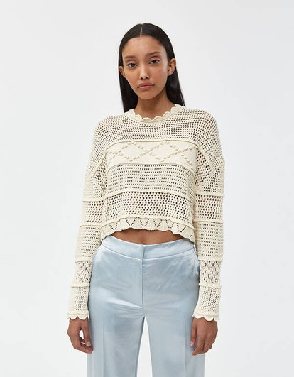 Patched Panel Cropped Sweater