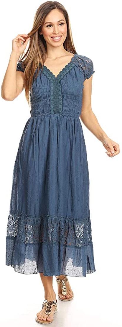 Anna Kaci Lace-Trimmed Cap Sleeve Peasant Dress