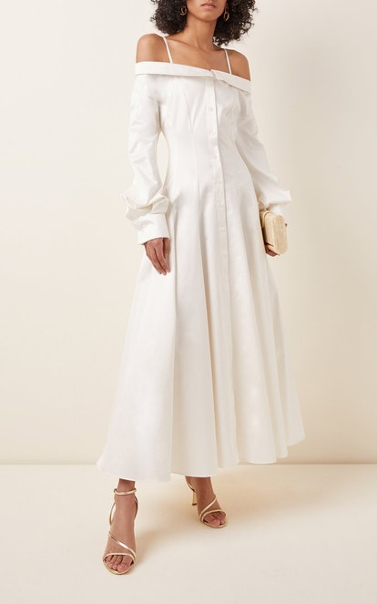 Off-The-Shoulder Cotton Midi Shirt Dress