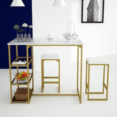 Amolife Modern 3-Piece Dining Table Set