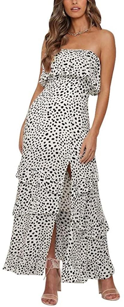 Yidarton Strapless Boho Maxi Dress