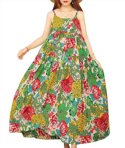 YESNO Empire-Waist Bohemian Maxi Dress