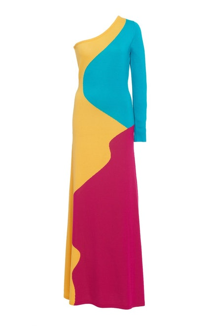 Color-Block One-Shoulder Merino Wool Maxi Dress