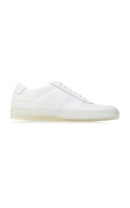 Transparent Sole Leather Low-Top Sneakers