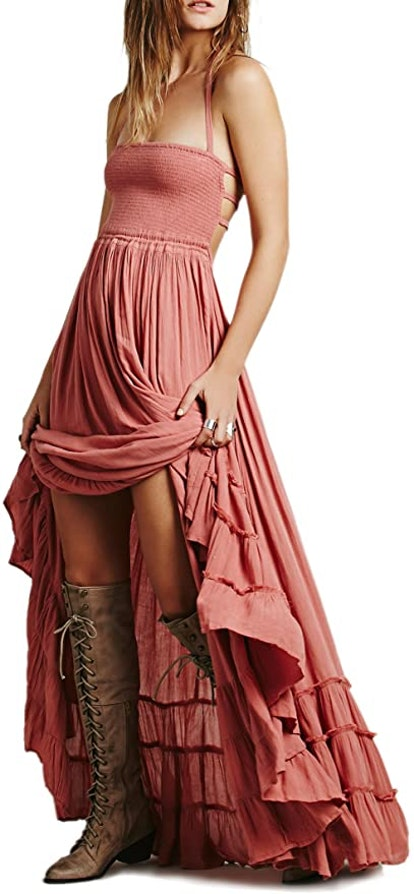 R.Vivimos Backless Smocked Maxi Dress