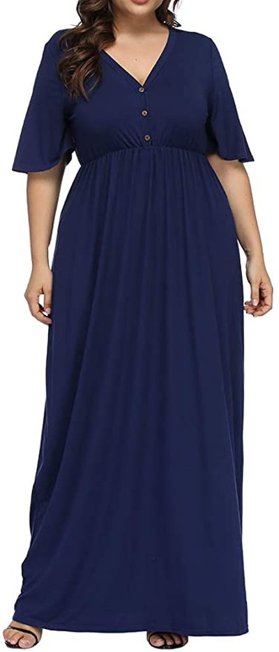 Allegrace Plus Size V-Neck Maxi Dress