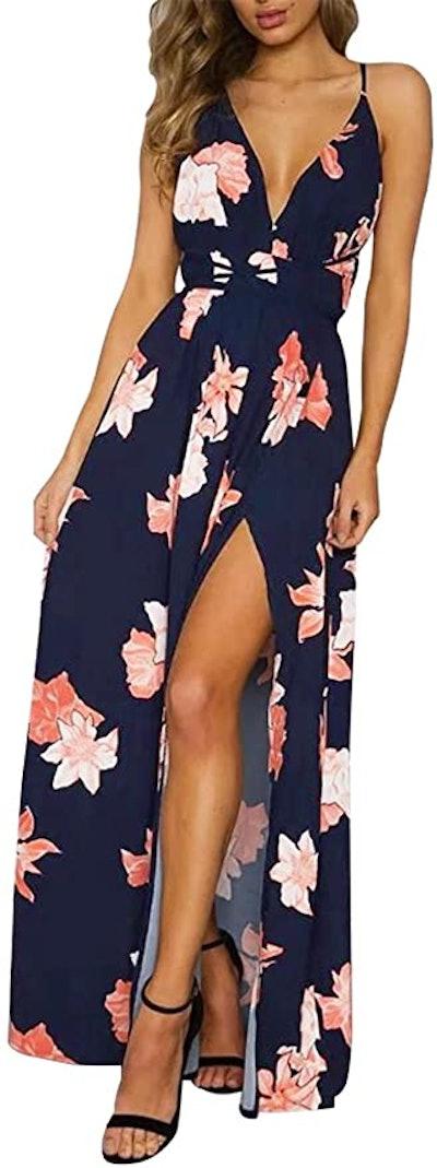BerryGo Deep V-Neck Backless Maxi Dress