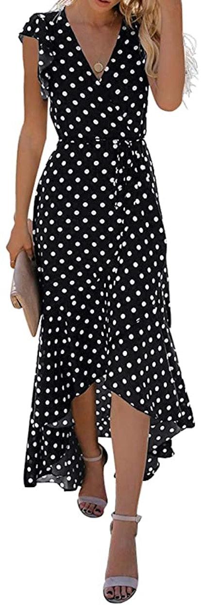 GRECERELLE Polka-Dot Maxi Wrap Dress