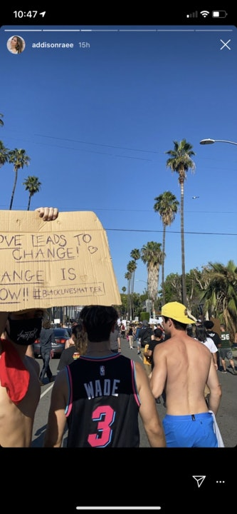 Addison Rae and Bryce Hall attend a protest in Los Angeles together.