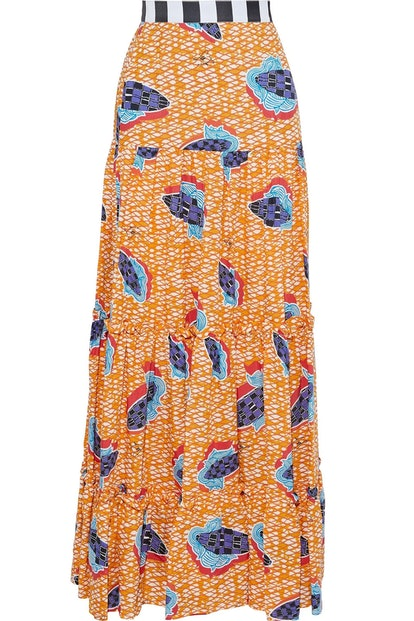 Gathered printed woven maxi skirt