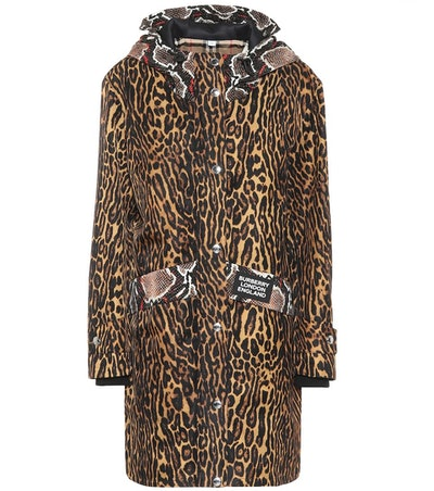 Animal-Print Nylon Coat