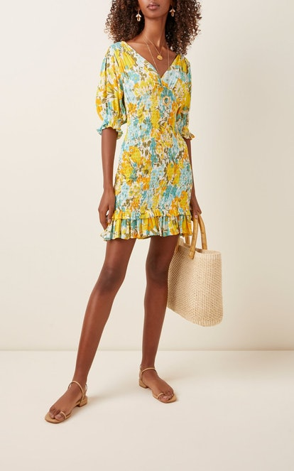 Margherita Floral-Print Crepe Mini Dress