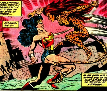 Wonder Woman and Cheetah face off in Wonder Woman vol 2, issue 34.