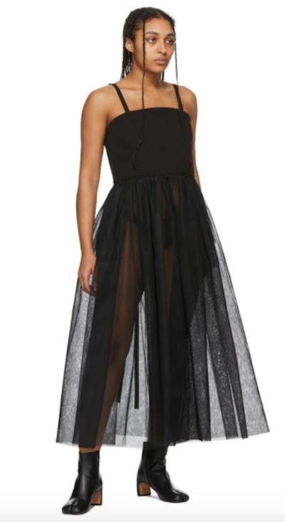 Black Denim Tulle Tank Dress