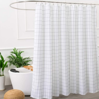 Aimjerry Black and White Fabric Shower Curtain