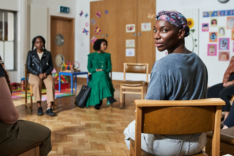 Michaela Coel attends a support group in 'I May Destroy You' via WARNER MEDIA PRESS SITE