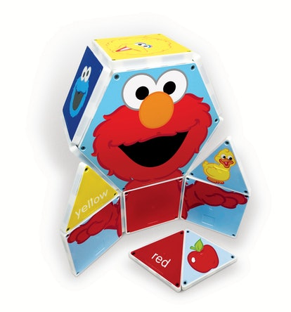A set of Magnatiles that comes together to form the body of Elmo holding a yellow rubber ducky.