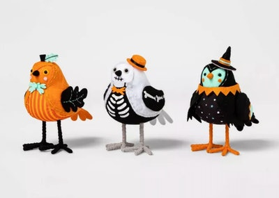 Pumpkin Park Halloween Fabric Birds Decorative Figurine Set