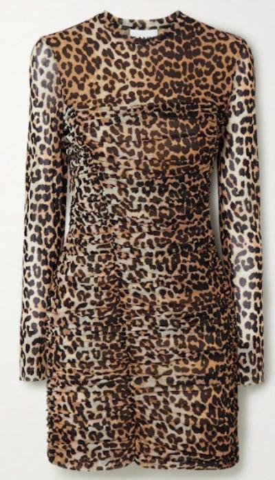 Ruched Leopard Print Stretch Mesh Mini Dress