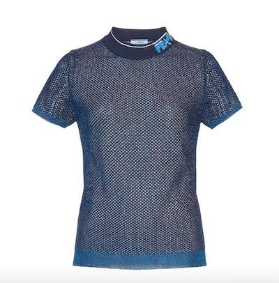Logo Collar Lurex Mesh Waffle-Knit Top