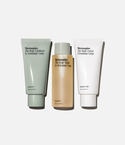 The Body Lotion, Body Wash, and Body Exfoliator from body-care brand Nécessaire.