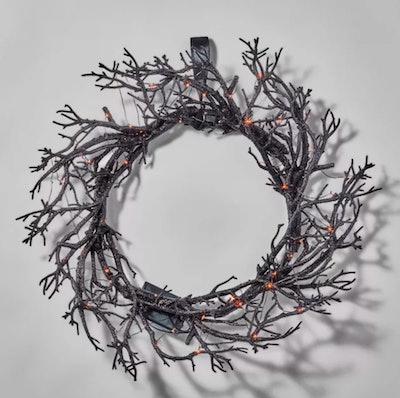 """18"""" LED Black Light Up Twig Halloween Wreath"""