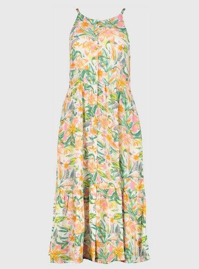 Palm Print Button-Through Tiered Midi Dress