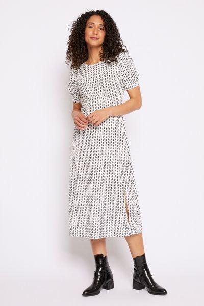 Monochrome spot print dress