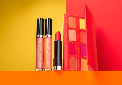 Both lip gloss shades, lipstick, and eye palette from the Artist Couture Caliente collection.