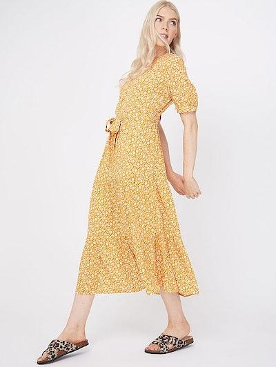 Ochre Ditzy Floral Tiered Midi Dress