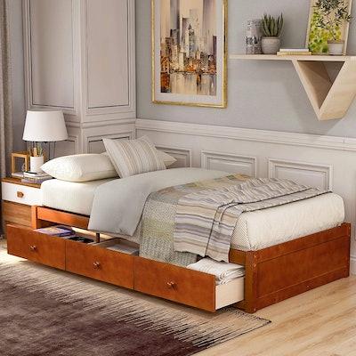 Civil Furniture Twin Wood Platform Storage Bed