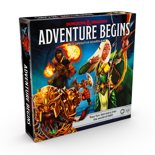 A picture of a box of the new Dungeons and Dragons Adventure Begins game. On the cover is a sorcerer and an elf.