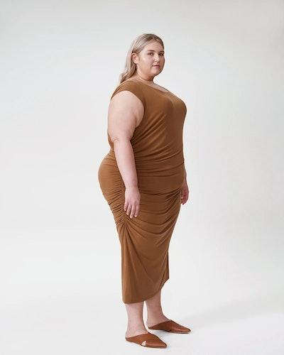 Rachel Ruched Dress - Caramel