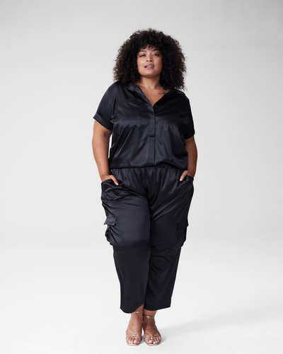 Trish Satin Patch Button Down - Glossy Black