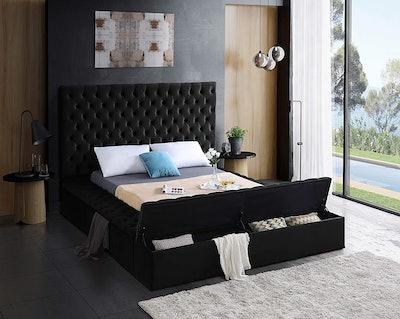 Meridian Furniture Queen Size Velvet Upholstered Bed