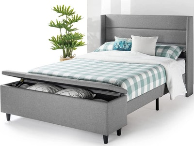 Mellow Platform Queen Size Bed With Bedside Storage Ottoman