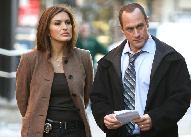 """Mariska Hargitay and Chris Meloni are seen working on the set of the NBC TV Show """"Law and Order SVU"""" in Harlem on March 17, 2010 in New York, New York."""