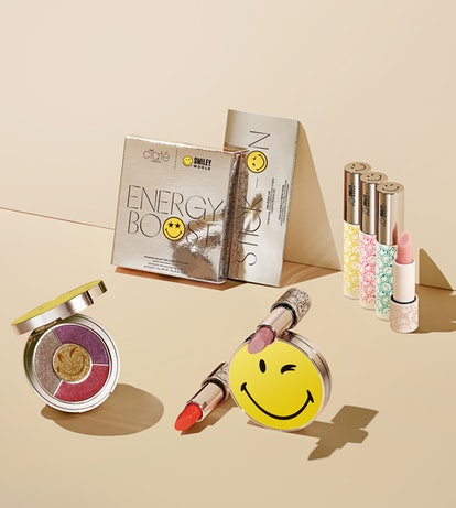 Lipstick, eyeshadow palette, lip balm, and more from the Ciaté London x SmileyWorld collaboration.