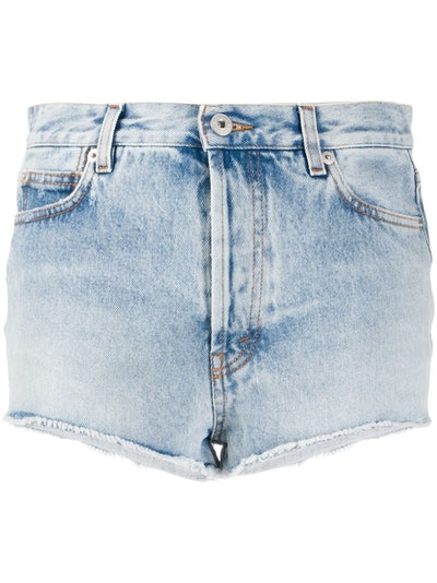 High-Rise Branded Denim Shorts