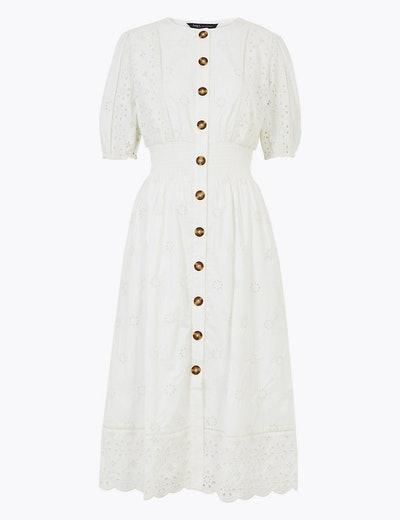 Pure Cotton Broderie Midi Waisted Dress