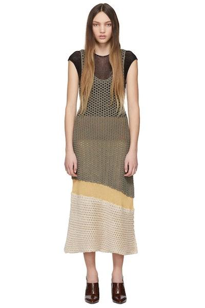 Brown Mesh Knit Dress