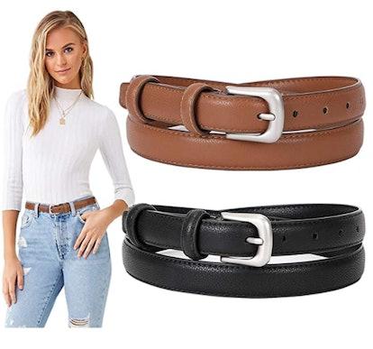 Suosdey Women's Skinny Leather Belts (Set of 2)