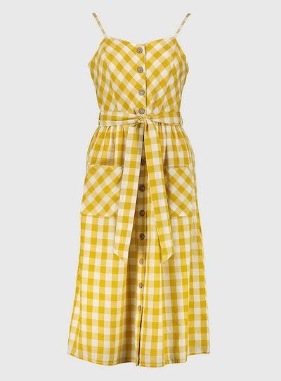 Yellow Gingham Button-Through Sundress