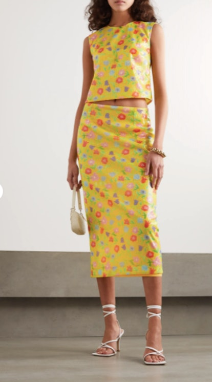 Roxanne sequined tulle midi skirt