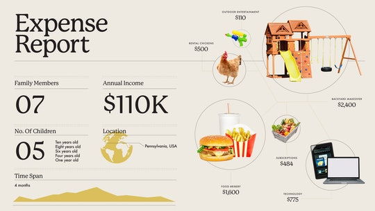Graphic of hamburger, laptop, globe, playset and chickens, to illustrate what a family have spent on...